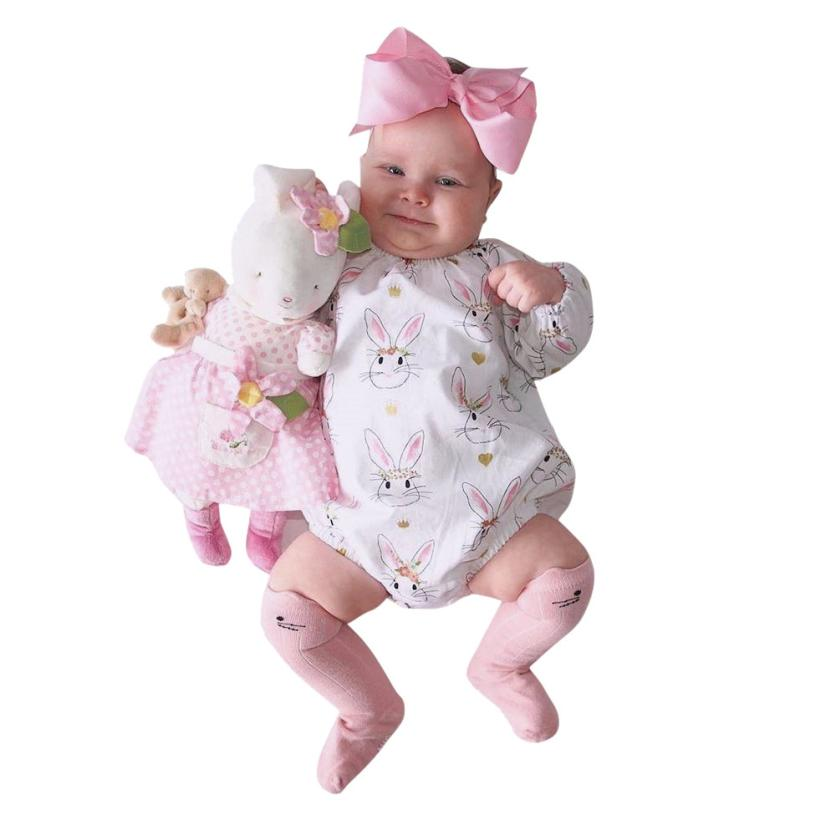 Girls Rompers Summer New Pink Animal Rabbit Cotton Clothing Full Sleeve Onepiece for Casual Cute Kids 18Apr2