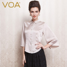 VOA pink color shirt sleeves Lapel silk blouse B1071 all-match slim female temperament