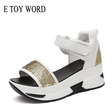 E TOY WORD Women Summer Sandals Platform Women Cover Heel sandalia mujer bling Sandals Open Toes Gladiator Shoes Wedges Sandals smile circle 2018 summer leisure sport sandals for women shoes fashion flat platform shoes women slipper open toes sandals