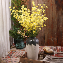 Xuanxiaotong 5pcs/set 95cm Long Yellow Orchid Flowers Artificial Bouquet for Outdoor Wedding party Decoration Fall Decor