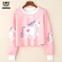 New Arrivals 2017 Pink Unicorn Kawaii Series Female Sweatshirt Cute Pretty Short Women S Hoodies Hot