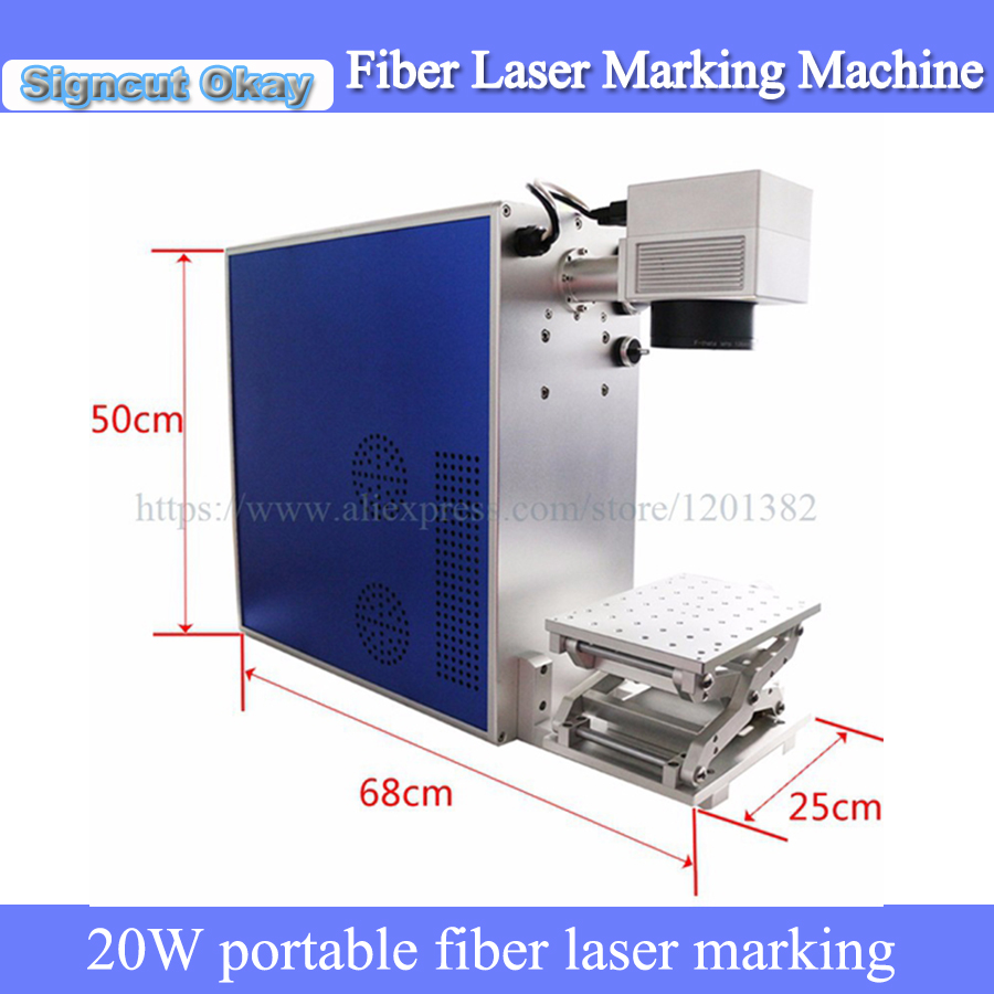 China Supplier 20W Portable Fiber Laser Marking Machine For Stain Steel Aluminum Marking With IPG ,Raycus Laser Brand Optional