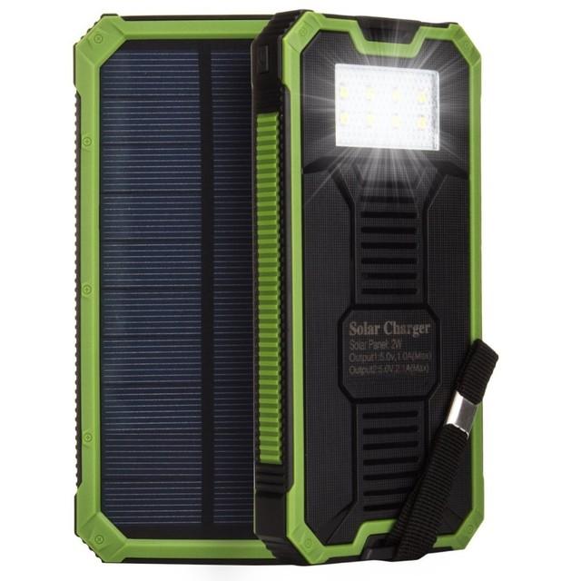 Venta caliente 10000 mah doble salida USB cargador banco de la energía solar LLEVÓ la lámpara que acampa Solar Powerbank Cargador de Batería Móvil Externo