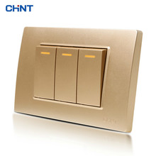 CHINT 118 Type Switch NEW5D Steel Champagne Hyun Golden Three Gang Two Way Two Position Small Three Open Panel chint lighting switches 118 type switch panel new5d steel frame four position six gang two way switch panel