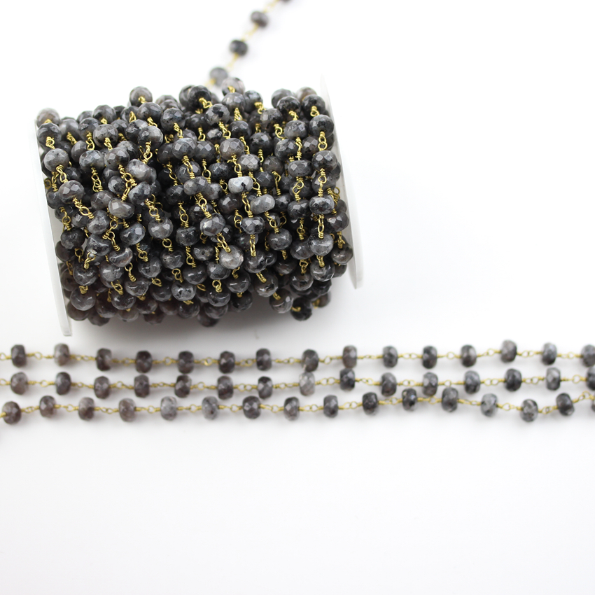 5x8mm Black Labradorite Faceted Loose Beads Chains Jewelry Crafts,Cut Rondelle Gem stones Beads Rosary Chains Findings Wholesale