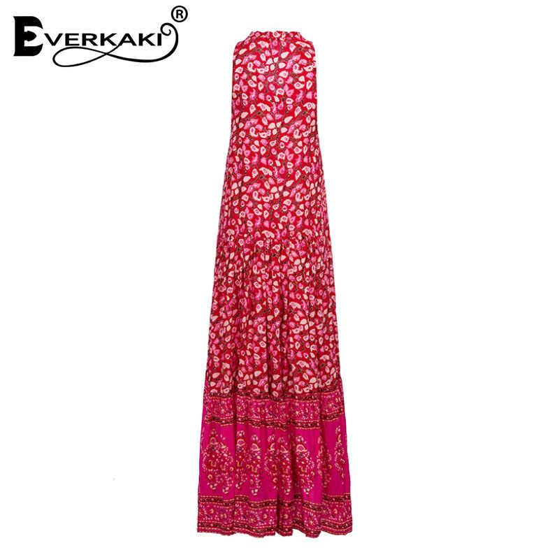 ef75abf688 ... Everkaki Red Boho Maxi Dress Women Cotton Floral Print Sleeveless Party  Dress Elegant Loose Bohemian Long