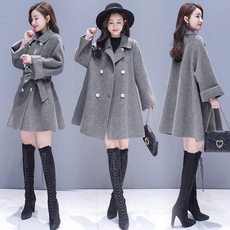 2019 Women Woolen Coat Fashion Solid Color Parka Slim Jacket Korean Version Jackets Female Woolen Coat Plus Size Thick Outerwear