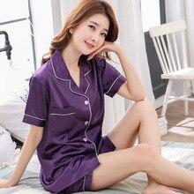 Summer New Two Piece Set Women Imitate Silk Pajama Sets Solid Satin Pyjamas Sexy Sleepwear Female Py