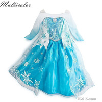 HOT Summer Dress For Girls Cartton Disfraz Anna Elsa Elza Dress Kids Dresses Princess Girl Disfraces