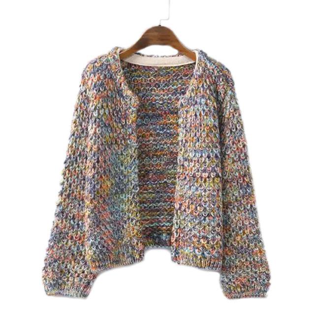 Mujeres Cardigan Casual corta moda otoño invierno suéter arco iris de Color de punto prendas de punto de moda de nueva Sweaters escudo