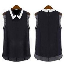 Women's Loose Lapel Summer Style Sleeveless Doll collar Shirt Chiffon Vest Tops Blouse Retail/Wholesale  5AWT 7FDX