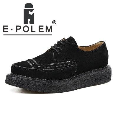 Plus Size Comfortable Black Platform Shoes For Ladies Frosted Oxford Pumps Shoes Fashion Brogue Leather Shoes 2355