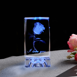 K9 Cube Crystal 3D Laser Engraved Rose Flower Cube Ornaments LED Light Changing Colors Glass Miniature For Love Gifts Home Decor
