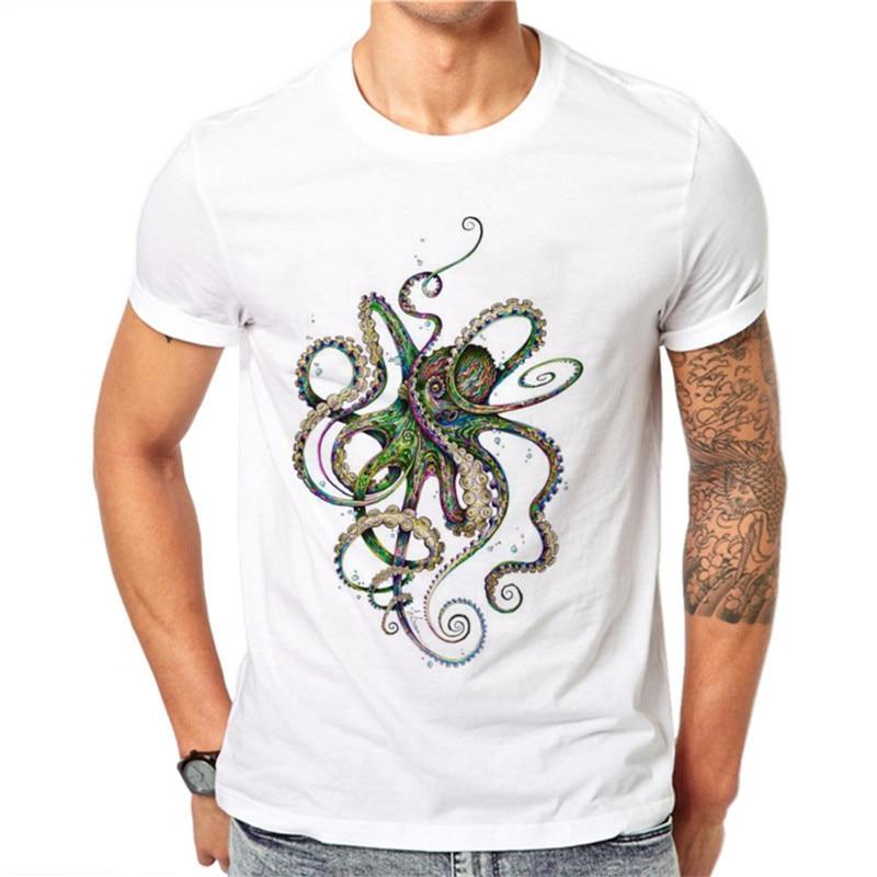 Harajuku Colorful Octopus T Shirt Menhort Sleeve Animal Design 3D Printed T Shirt top tee