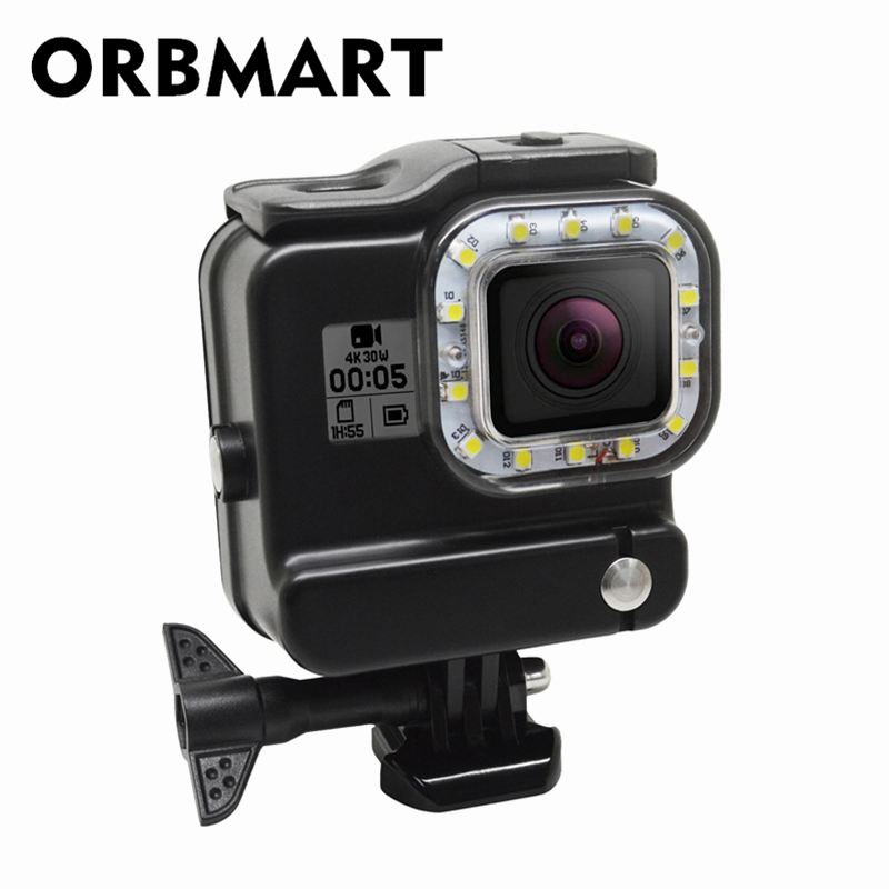 ORBMART 2 in 1 Waterproof Housing Case Cover Diving Light Underwater 30M LED Video Light For Gopro Hero 5 6 Black Sport Camera 45m waterproof case mount protective housing cover for gopro hero 5 black edition