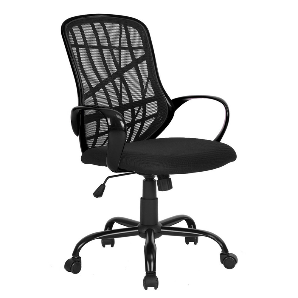 Black Metal Five Stars Feet Anomaly Grid Office Chair with Shake Black Dropshipping цена