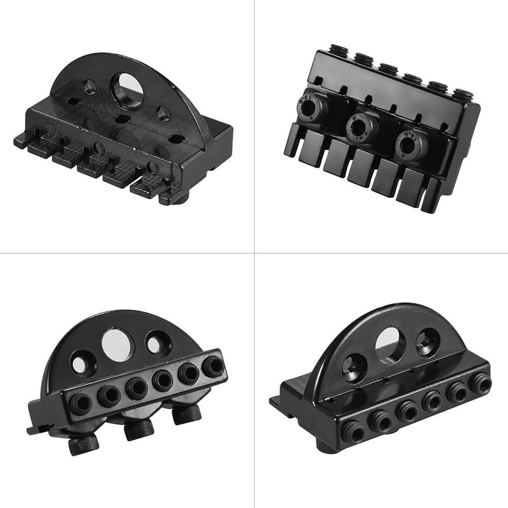 6-string بلا رأس الغيتار الكهربائي سلسلة قفل البندق مجموعة مع 2 مفتاح 2 المسمار الأسود