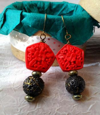 Perfect Red Carved Cinnabar Earrings Fashion Women S Lacquerware Jewelry Black Beads 925 Silver Dangle Earring In Drop From