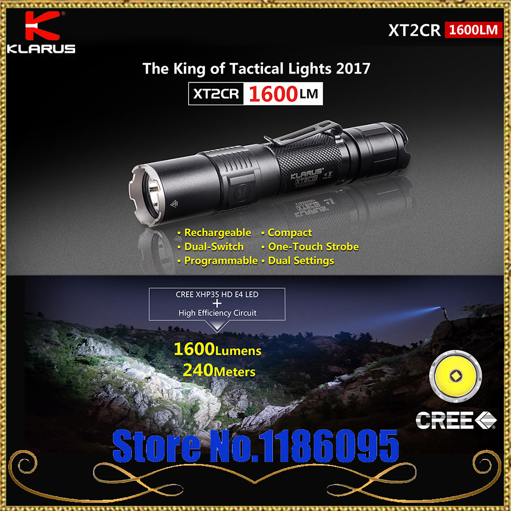 2017 KLARUS XT2CR CREE XHP35 HD E4 LED lampe de Poche 1600 lumens Compact Super-lumineux Double-commutateur Rechargeable Tactique lampe de poche