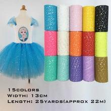 13cm*22m Glitter Sequin Tulle Roll Tutu Fabric Wedding Decoration Sewing Mesh DIY Organza Skirt Accessories