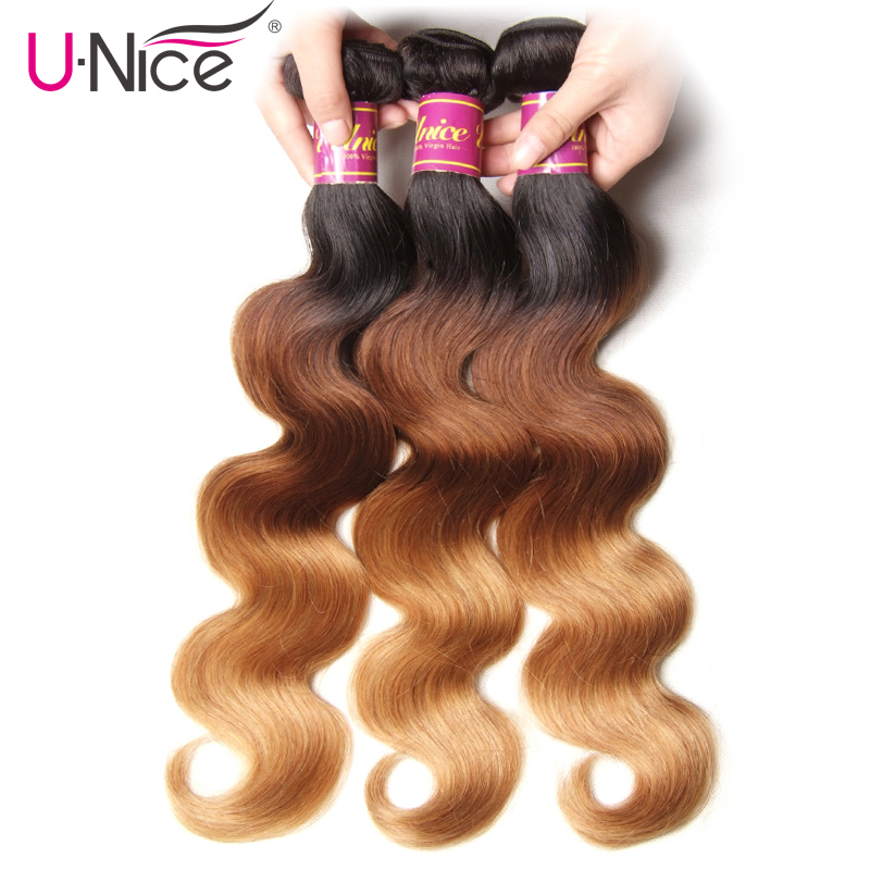 UNICE HAIR Peruvian Body Wave Ombre Hair Extensions Color T1b 4 27 Human Hair 3 Bundles