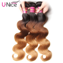 UNICE HAIR Peruvian Body Wave Ombre Hair Extensions Color T1b/4/27 Human Hair 3 Bundles Three Tone Remy Hair Weaves 16-26inch(China)
