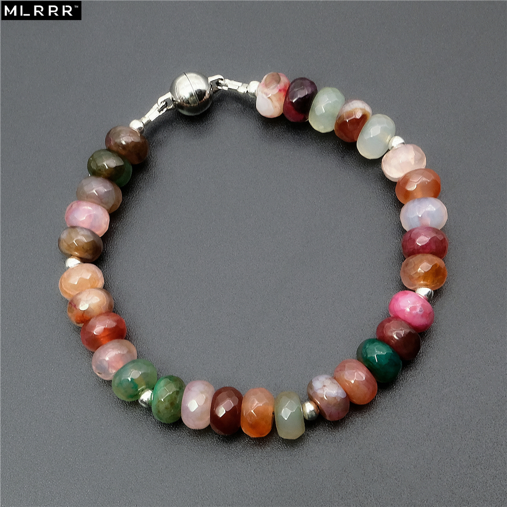 Vintage Classic Natural Agates Stones Jewelry Romantic 5*8 mm Tourmalines Beaded Strand Bracelets