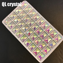 QL crystal  AB Crystal Rectangle Sew On Flatback Glass Rhinesone For DIY Wedding dress shoes bags clothes accessories