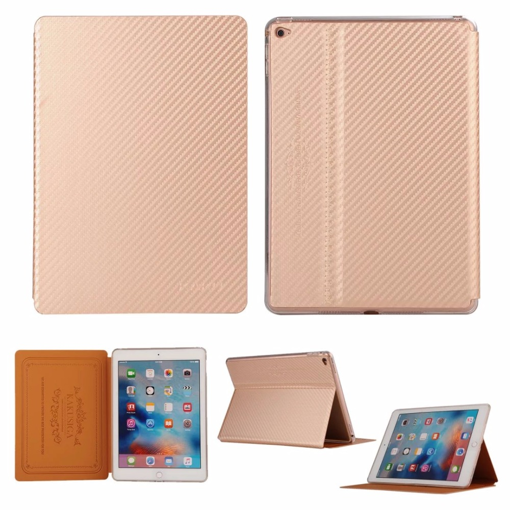 KAKU Fashion Ultra thin Carbon Fibre Style Smart Cover for iPad 5 Luxury Flip Stand Case PU Leather for iPad air 1 Tablet Case ultra thin stand design pu leather case for ipad mini 4 cover colorful option flip smart cover tablet case free shipping