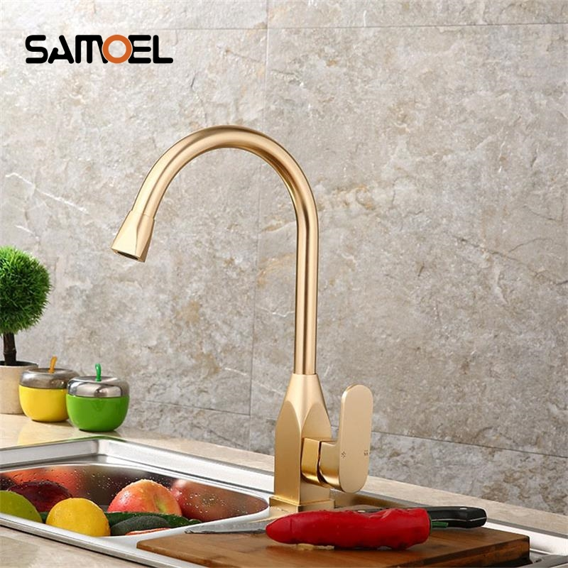 SAMOEL Gold White Kitchen Faucet Space Aluminum Gold Single Handle Hot Cold Water Vessel Sink Basin Tap Mixer Torneira Cozinha тарелка gold space home