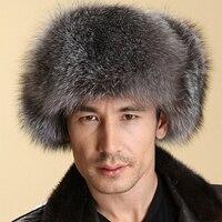 Genuine Leather Cap Super Warm for Russian Fox Fur Hat Fur Hat Winter Ear Protector Cap Men's Genuine Leather Fox Lei Feng Caps