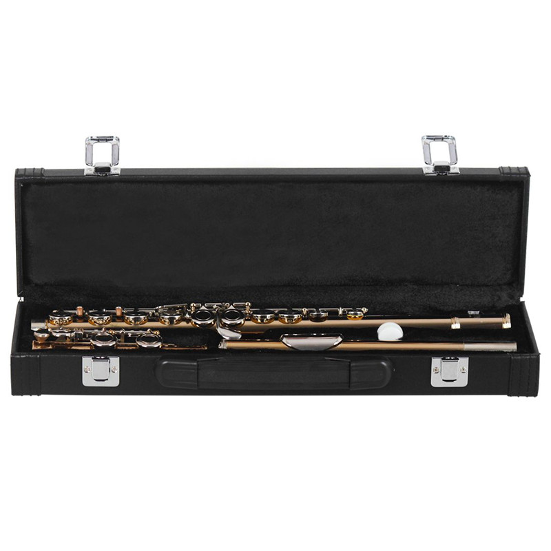 ADDFOO 16 Holes Western Concert Flute C Key Cooper nickel Musical Instrument with Cleaning Cloth Stick Gloves Screwdriver Gold