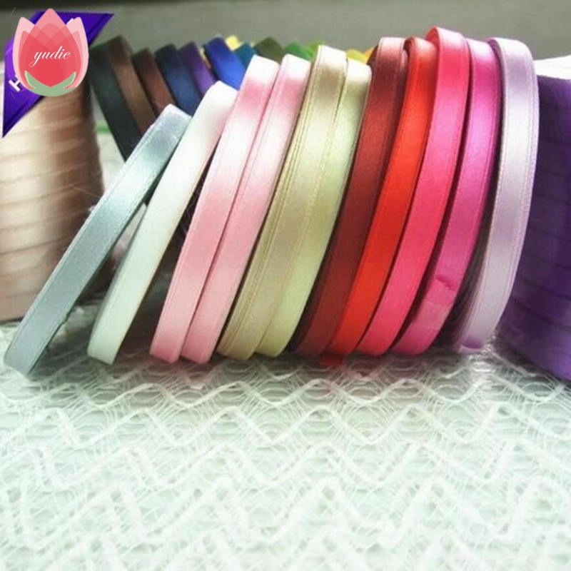 Fabric 6mm 25Yards Pink Silk Satin Organza Polyester Ribbon For Sewing Wedding Party Handmade Christmas Decoration Webbing Gift