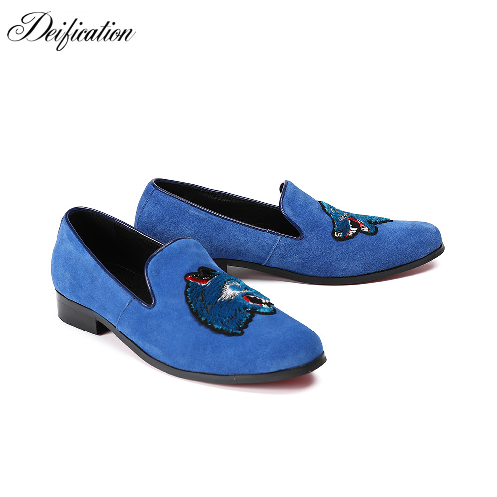 Deification Luxury Blue Wolf Embroidery Casual Loafers Pig Suede Casual Men Flats Formal Slip On Man Party Shoes Plus Size 38-46