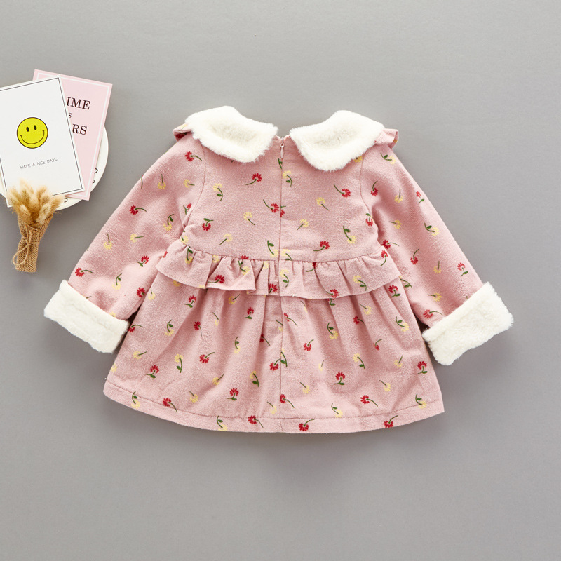 c8cbc6804 Baby girl print dresses kids winter dresses baby dress Shear plush ...