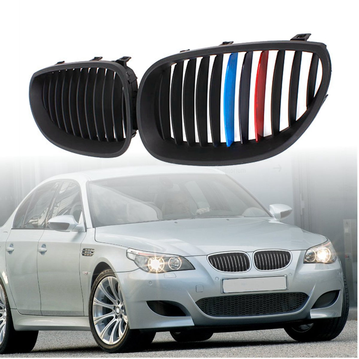 Pair ABS Car Matte/Gloss Black M Color Front Kidney Grille Grills For BMW E60/E61 5 Series Sedan 03-09 pair gloss matt black germany color m color double slat line front kidney racing grilles for bmw e60 e61 525i 528i