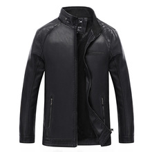 CVETO Spring Autumn Winte Men's Leather Jackets Slim Fit Faux Leather Jacket Casual Coats Stand Collar Men PU Leather Large Size цена