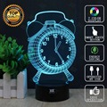 Creative Gifts CLOCK 3D Night Light USB Led Table Desk Lampara as Home Decor Bedroom Reading Nightlight free remote control