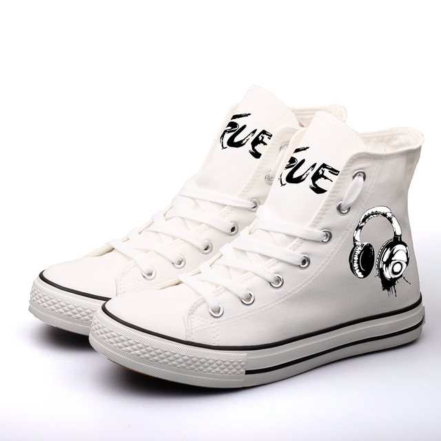 E-LOV Fashion DJ Music Rock Stars Printed Canvas Shoes High Top White Casual  Flats Customized Men Espadrilles For Gifts 7543d3c0c0d