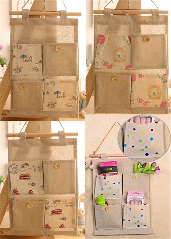 Lovely 1PC Creative Ecofriendly Fashion Burlap Office Organizer Diy Desks  Stationery Items Office Supplies 4 Pockets Wall