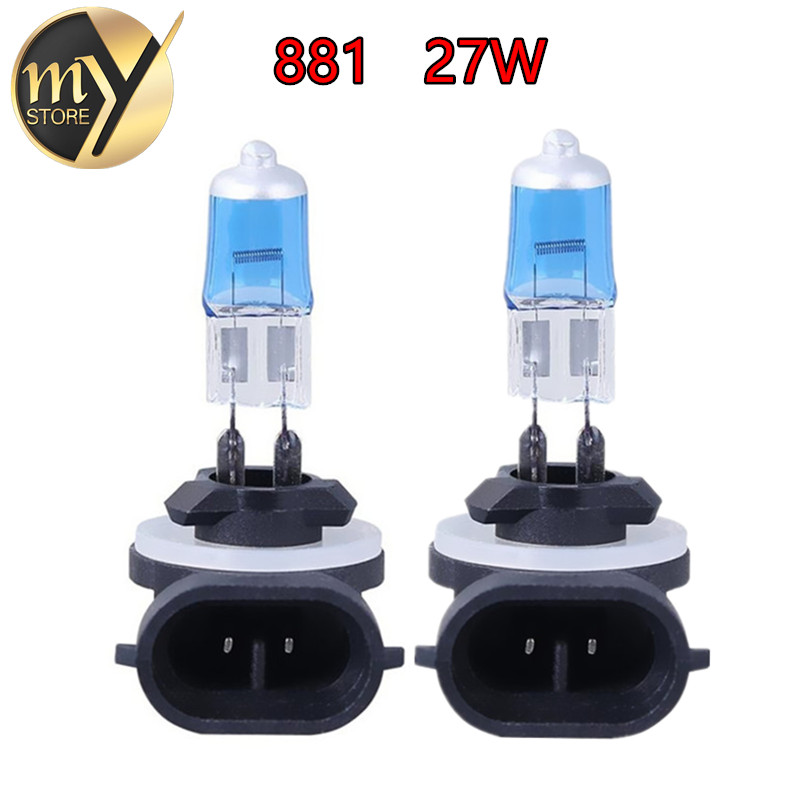 2pcs H27 881 894 Super Bright White Halogen Halogen Bulb Hight Power 27W Kereta Kepala Lampu Lampu DRL Hari Running Lights Yellow Amber 12V