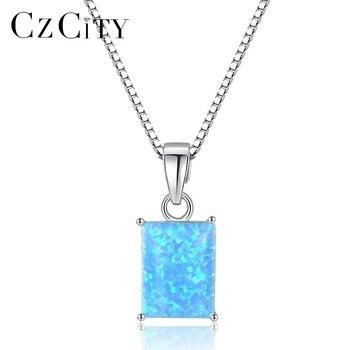 6ce0a7adfa67 CDE azul blanco ópalo collar collier femme colgante collar 925 plata  esterlina cadena transparente gargantilla mujeres joyería regalos