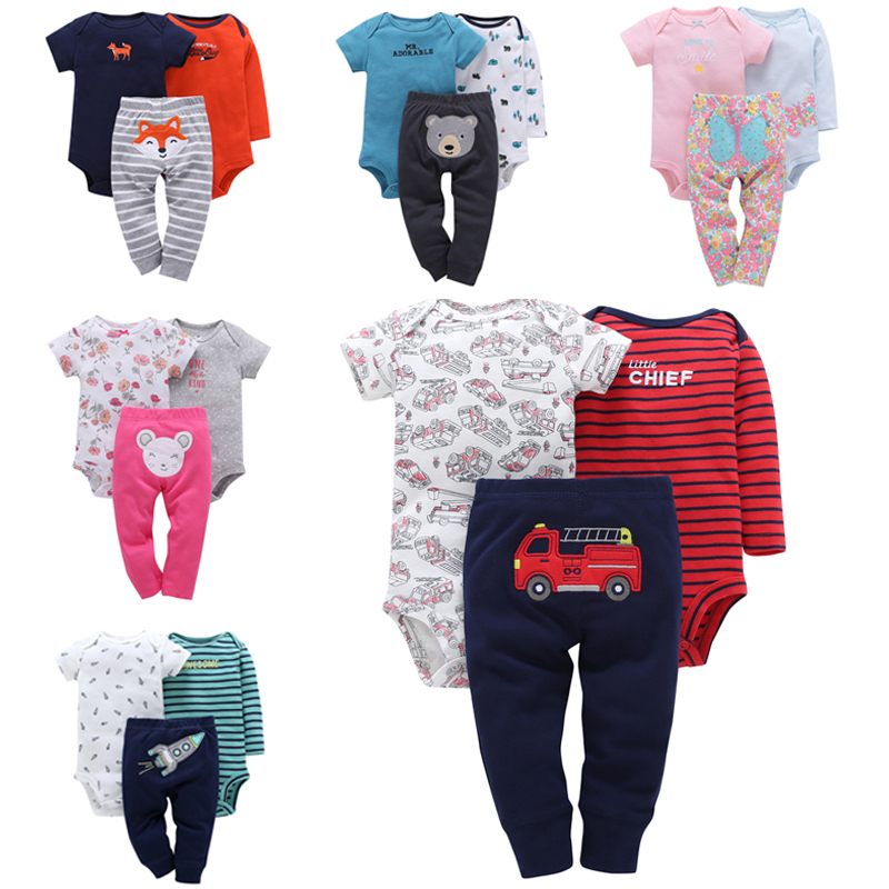 Fashion Baby Girls Clothes Set Short Sleeve And Long Sleeve Jumpsuit+Pants 3pcs Suits Bebes Boys Clothing Newborn Infant Outfits