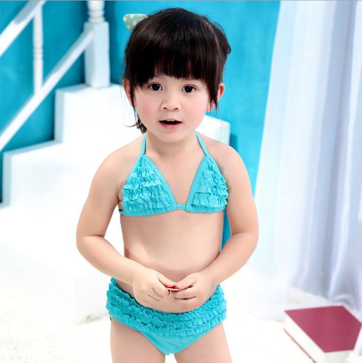 1ebb215da0 Children swimsuit cute girls wood ear split swimsuit swimsuit 1-6 years old  baby swimming pool