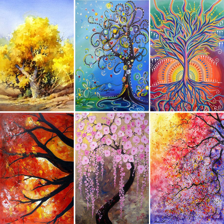 5D DIY Diamond Painting Trees Abstract Art Paintings 3D