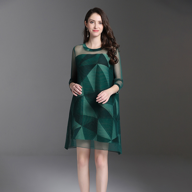 LANMREM 2019 Spring Summer Woman Pullover Round Collar Geometric Printing Pleated Dress Mesh Splice Joint Loose