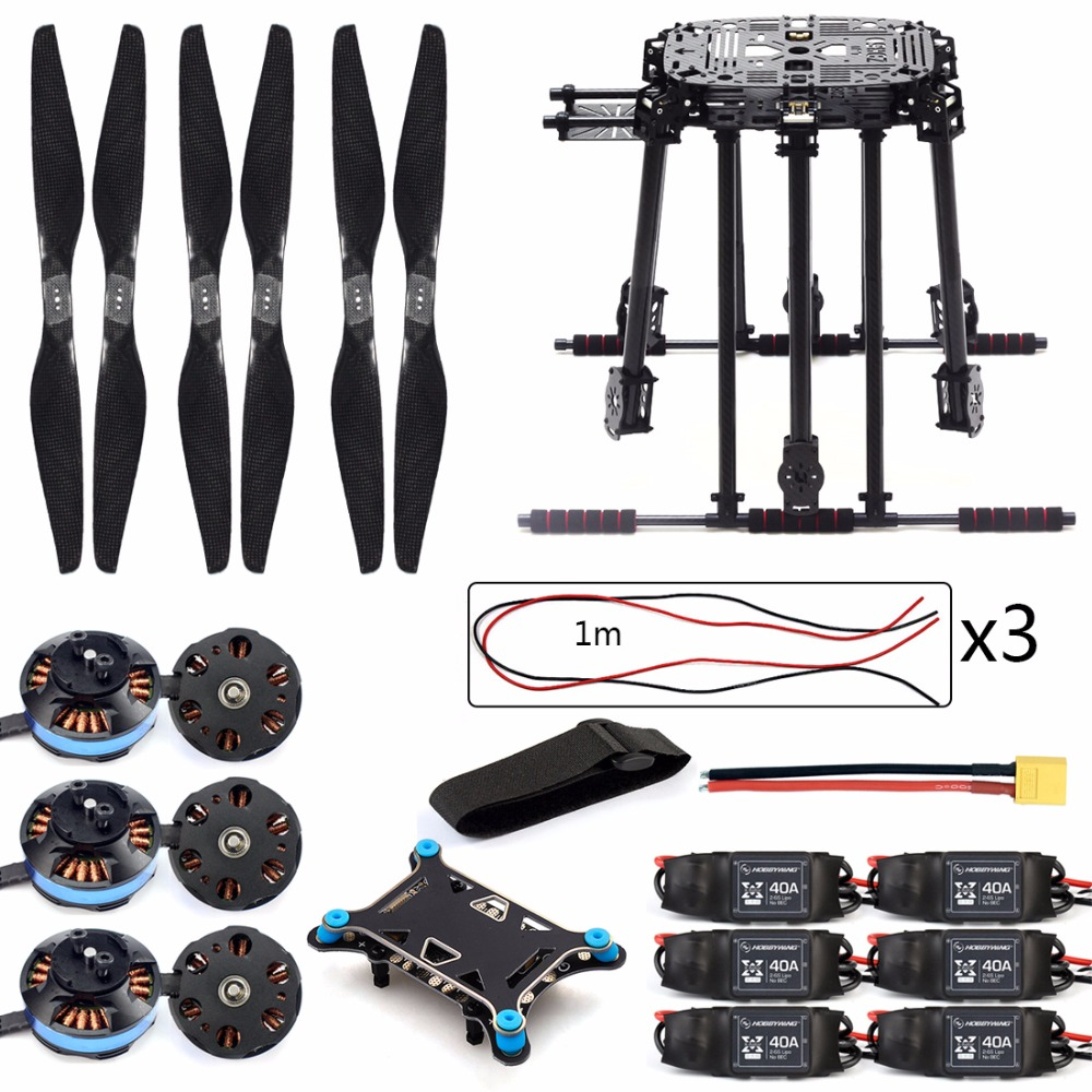 DIY ZD850 Frame Kit with Landing Gear 620KV Brushless Motor 40A ESC 1555 Props Shock Absorber for FPV 6 Axle Drone F19833-B diy set pix4 flight control zd850 frame kit m8n gps remote control radio telemetry esc motor props rc 6 axle drone f19833 d