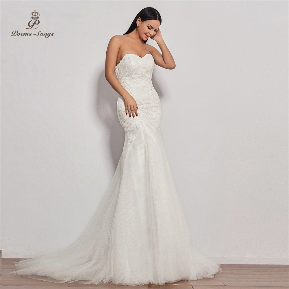 Image 5 - PoemsSongs  2019 new wedding dress strapless vestidos de novia wedding gown mermaid bridal dress sexy robe de mariee women-in Wedding Dresses from Weddings & Events