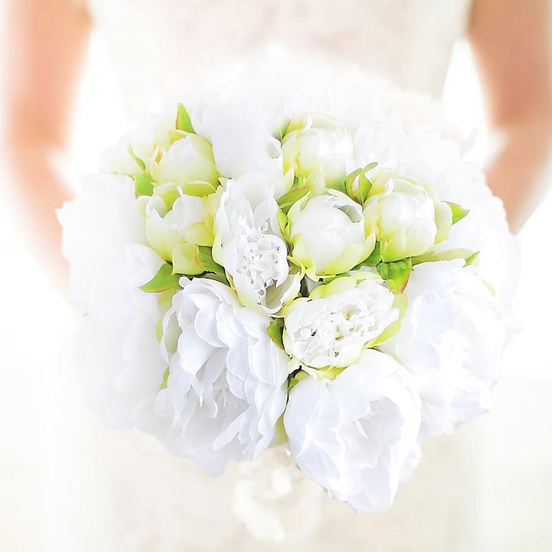 Iffo New Handmade White green peony bouquet wedding bride bouquet bridesmaid peony hand holding flowers Bridal Peony Bouquet