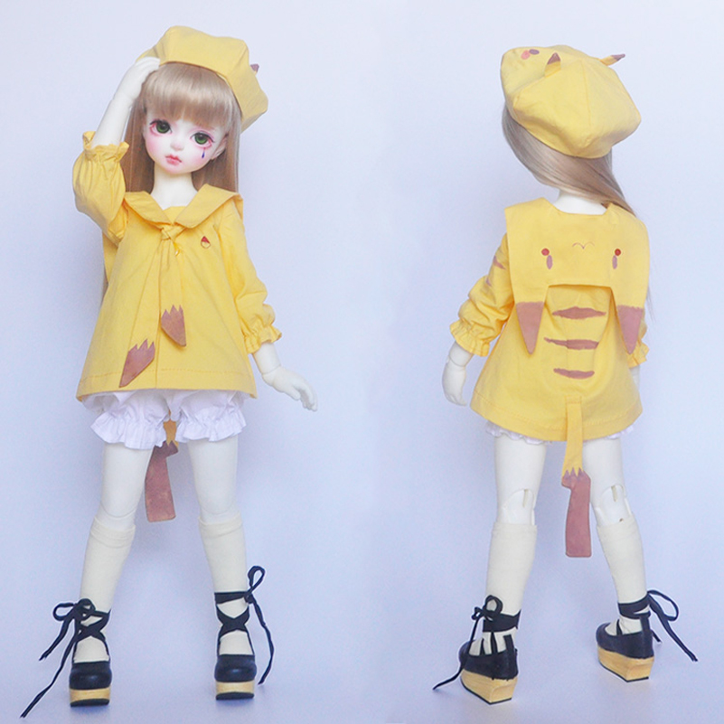 Anime Kawaii BJD Doll Clothes Set Yellow Clothing With Hat Cap Pants For 1/4 1/3 1/6 BJD Doll Accessories Cute Cosplay Toy Dress pencil pants casual pants for bjd sd17 sd13 1 3 uncle doll clothes accessories